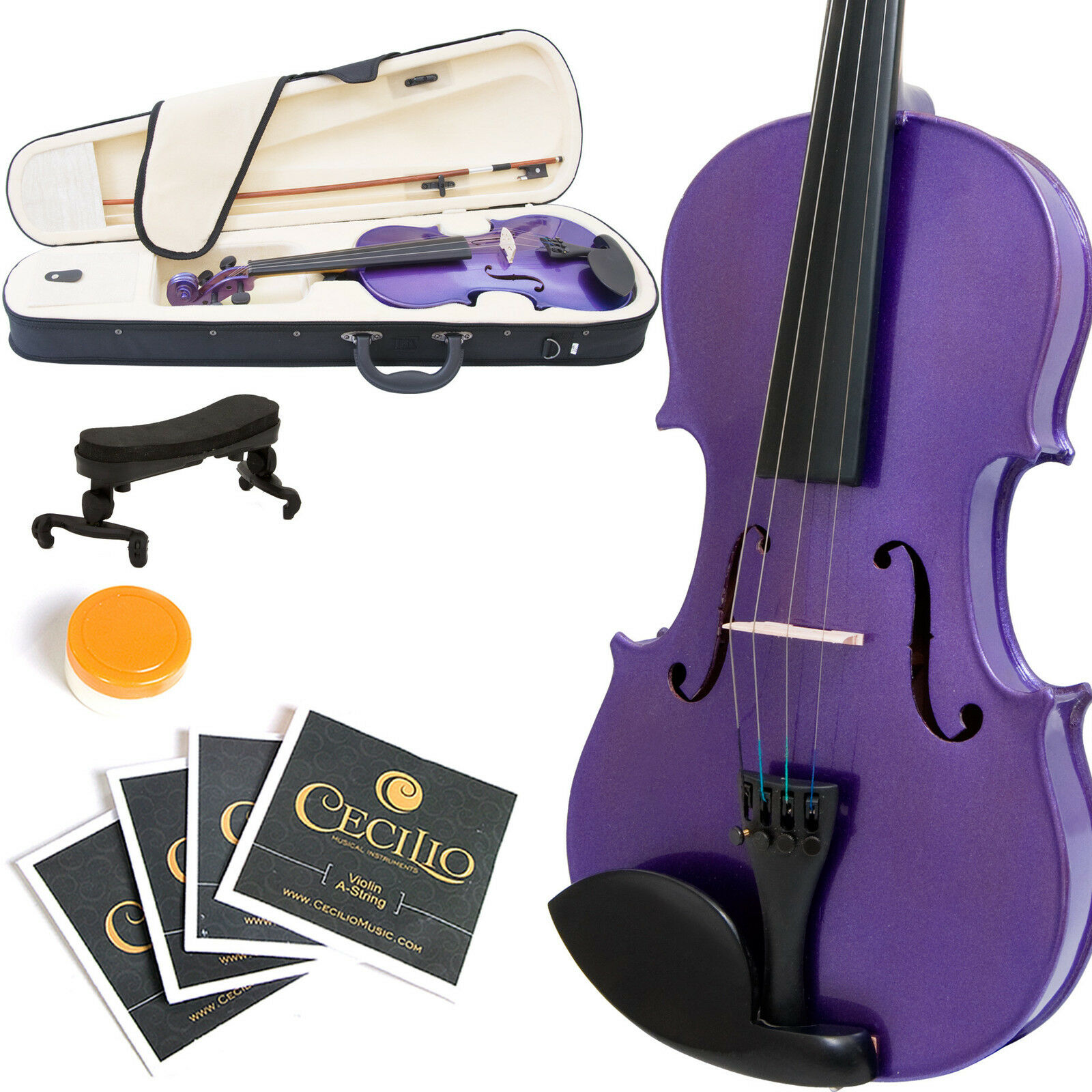 MENDINI SIZE 1/4 SOLIDWOOD VIOLIN METALLIC lila +TUNER+SHOULDERREST+BOW+CASE