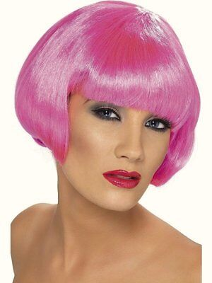 Pink Wig Fringe Womens Short Neon Ladies Hen Party Fancy Dress Race For Life