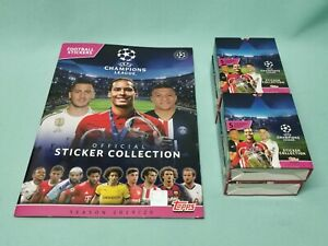 Topps-Champions-League-Sticker-2019-2020-Sammelalbum-4-x-Display-19-20-Album