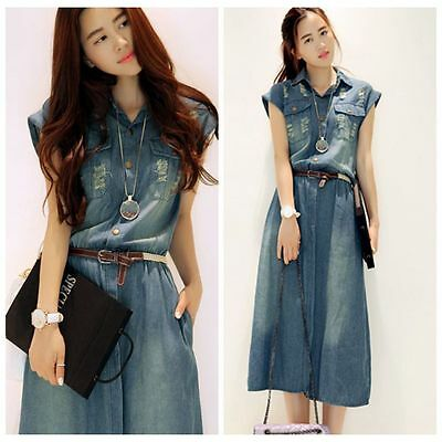Summer New Fashion Women's Long Washed Denim Dress Slim Jean Dresses S-XXXL+Belt