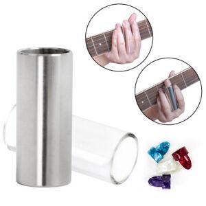 2 pcs guitar slide finger slide set 6cm glass stainless steel with 4pcs picks 603803163004 ebay. Black Bedroom Furniture Sets. Home Design Ideas