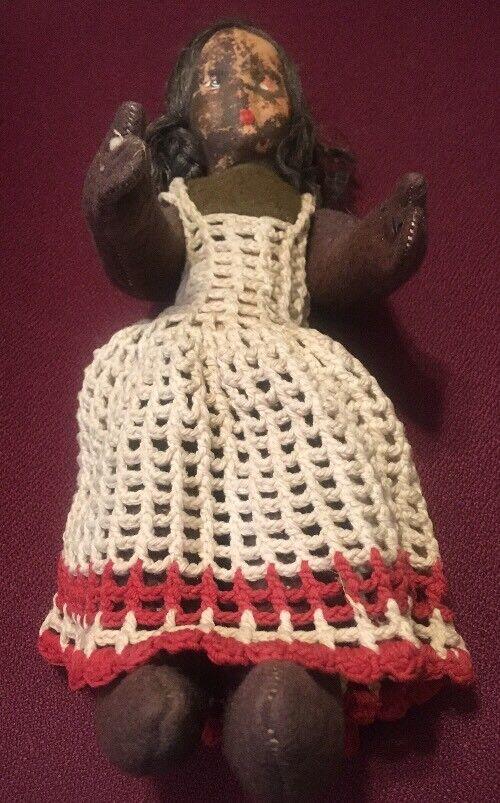 Antiguo hecho a mano usado misterio Bebé Muñeca Cuerpo De Paja