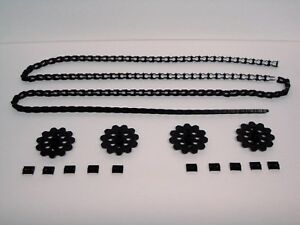MICRO-KNEX-LOT-4-Sprocket-Gears-6-Ft-Chain-10-Chain-Guides-Clips-Black-Pieces