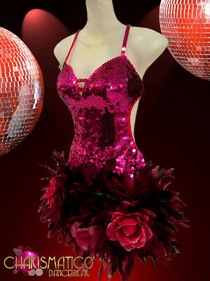 CHARISMATICO Diva's hot fuchsia sequin dress with feathered and flowered skirt