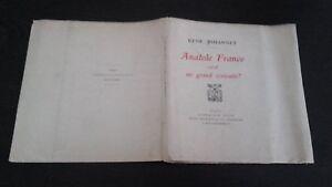 Rene Johannet Anantole Francia È Uno Grande Scrittore 1925 Plön Parigi Be