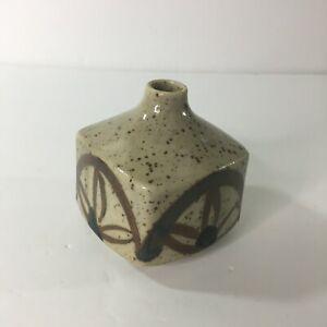 """Vintage Made in Japan Ceramic Bud Vase Brown Floral Western Detail 3.5"""""""