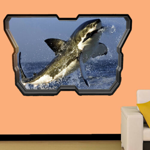 HUNTING GREAT WHITE SHARK WALL STICKERS 3D ART MURAL ROOM OFFICE DECAL DECOR TL3