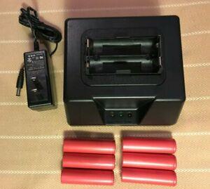 6pcs Panasonic Li-ion UR18650BF-3.6V3350mAh Cell or 18650-2 Bank Charger(UL/CE)