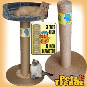 Cat-Scratch-Post-100-Sisal-Rope-Giant-3-foot-with-or-without-bed-PetzTrendz