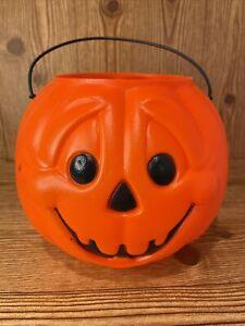 Vintage Blow Mold Halloween Pumpkin Candy Pail Bucket - General Foam Plastic