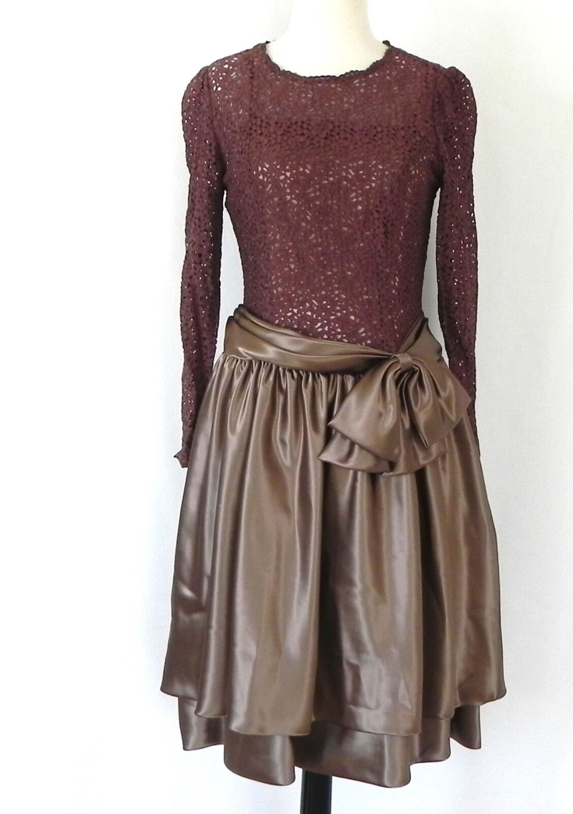 Preference Dress Lace Satin Long Sleeve Tiered Bow Trim Size S