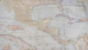 Columbia Mexico Map.Caribbean Jamaica Cuba Columbia Gulf Mexico 1947 Map 104 X 63