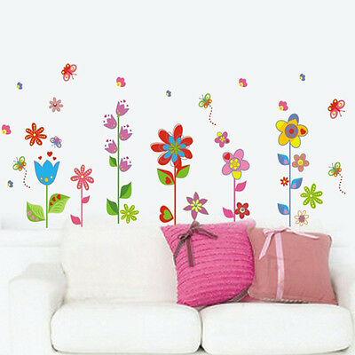 Flower Butterfly Removable Vinyl Decal Art Mural Home Decor Room Wall Stickers