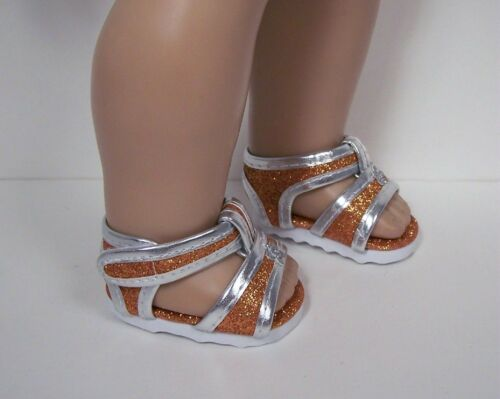 """Debs ORANGE Glitter /& Silver EZ2 Close Sandals Doll Shoes For 18/"""" American Girl"""