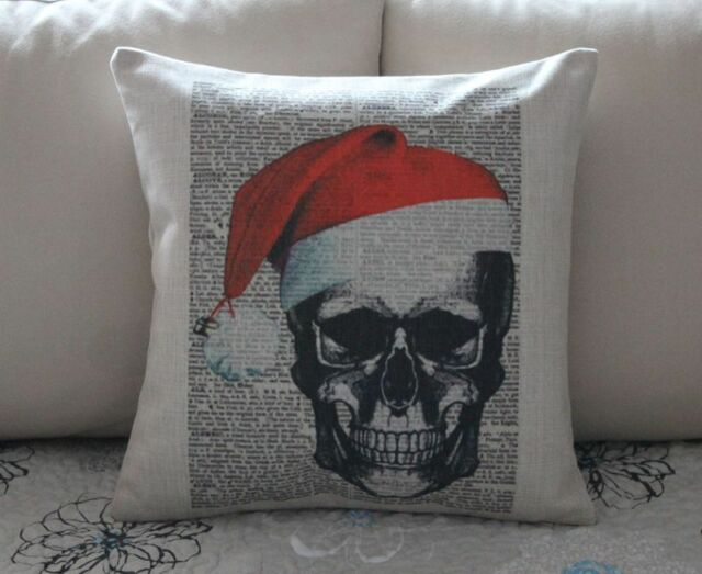 Vintage Merry Xmas Skull Cotton Linen Cushion Cover Throw Pillow Home Decor B679