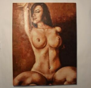 Original-oil-painting-canvas-Big43-34-inch-nude-Girl-woman-Palette-knife