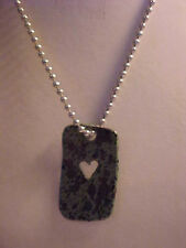 Dog Tag Heart Pendant Necklace Green and Black Enamel Silver Ball Chain 16""