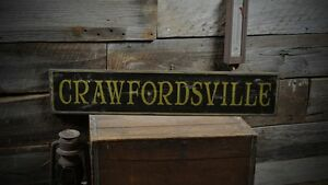 Custom city sign primitive rustic hand made vintage for Rustic home decor park rapids mn