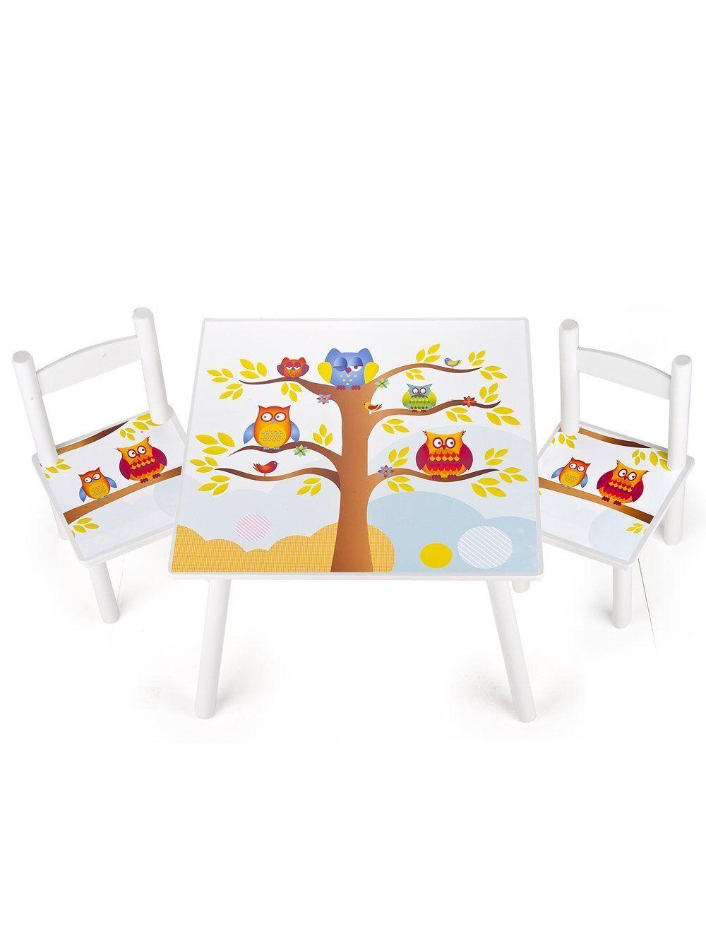 Table et 2 chaises enfant motif hiboux Leomark- 102 244162A