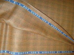 2-77-yd-HOLLAND-SHERRY-WOOL-Silk-Fabric-Super-100s-Plaid-9-oz-Salmon-100-034-BTP