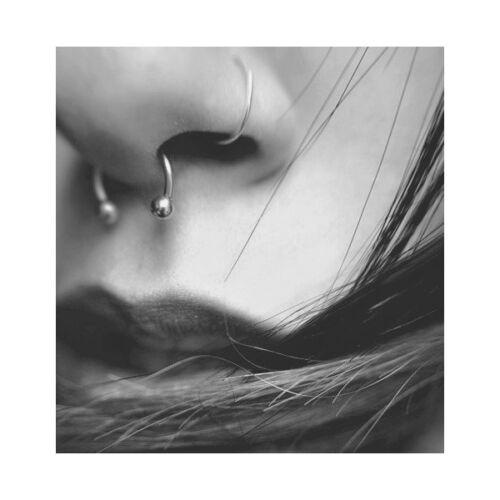 16G Clear Gem Ferido Steel Nose Tragus Helix Septum Rings Horseshoes Nipplerings
