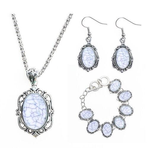 Femmes Vintage Turquoise Collier Crochet Boucles D/'oreilles Chaîne Bracelet Set Party Jewelry