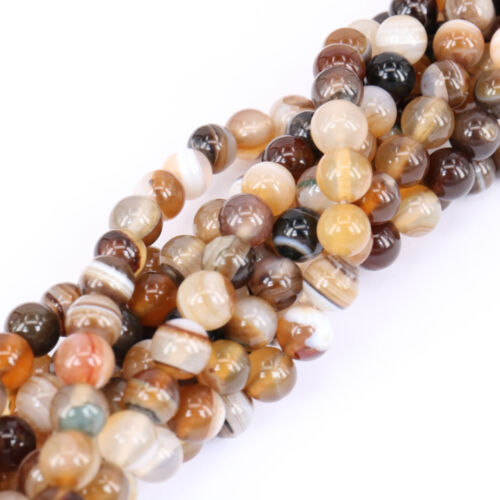 Lots Natural Stripe Agate Gemstone Loose Spacer Beads Jewelry Findings 4-10MM