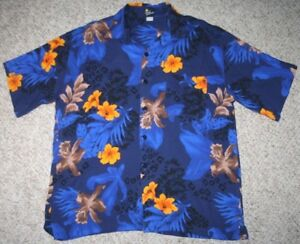 Royal-Creations-Hawaiian-Dress-Shirt-Blue-Orange-Large-Short-Sleeve-Mens-Rayon