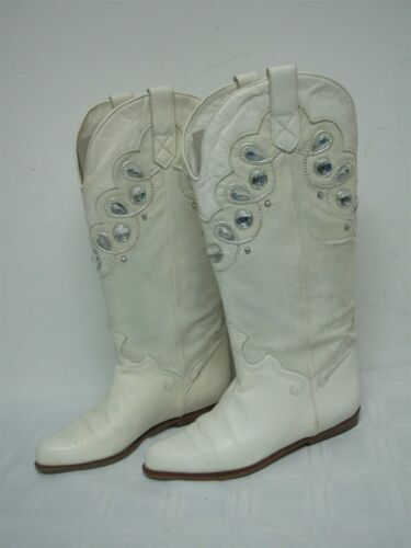 1980s MADE IN ITALY WHITE LEATHER SUEDE WOMENS COW