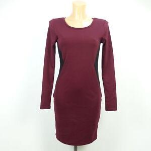 H-amp-M-Kleid-Dress-Bodycon-Rot-Schwarz-Bordeaux-Gr-S-36