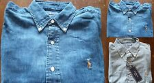 *NWT* Polo Ralph Lauren MEN'S CLASSIC FIT DENIM CHAMBRAY L/S Button down Shirt
