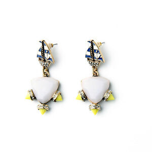 Earrings-Nails-Golden-Anchors-Voile-Navy-Blue-Boat-Yellow-Retro-Aa-14