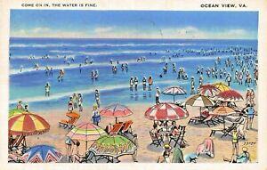 OCEAN-VIEW-VIRGINIA-COME-ON-IN-THE-WATER-IS-FINE-1938-POSTMARK-POSTCARD