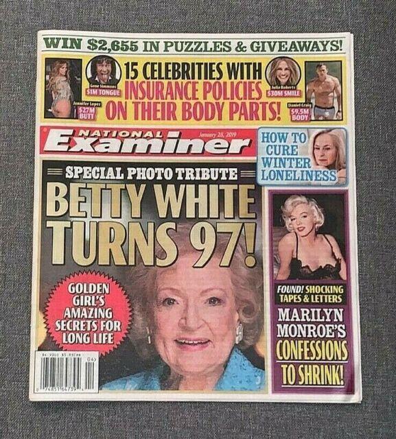National Examiner Magazine Betty White Birthday Marilyn ...