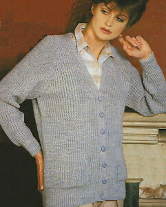 e4bbe8cc1a91 Ladies Rib Cardigan Knitting Pattern DK 32-40