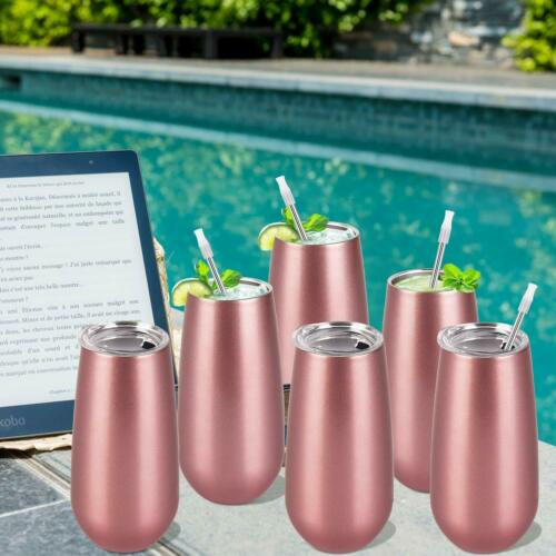 6 Pack Stemless Double Insulated Champagne Flute Tumbler with Lid 6 Oz Unbreakab