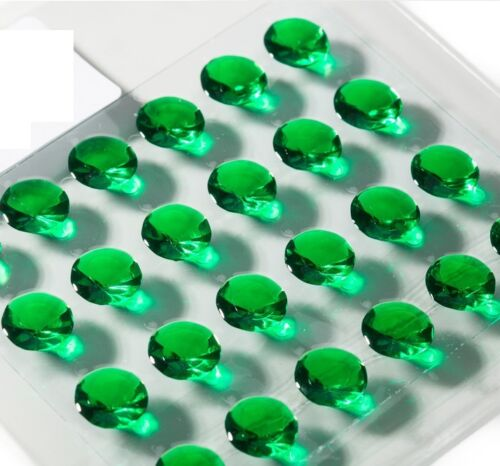 64 x vert émeraude Comestible DIAMANTS 10 mm Jelly Gem Cake Décorations