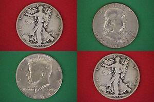 MAKE OFFER 2 Standard Ounces 1964 Kennedy Mercury Walking Junk 90/% Silver Coins