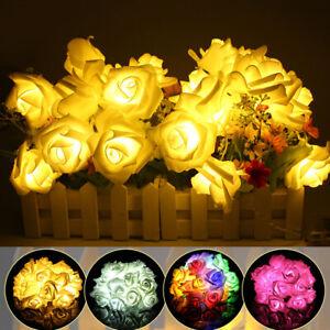 30 //10 LED Lichterkette batterie Beleuchtung Rosen Blumen Weihnachten Deko DE