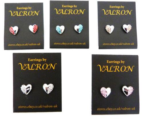 Exquisito Corazón De Plata Y Diamante Aretes Elección de Colores 8mm