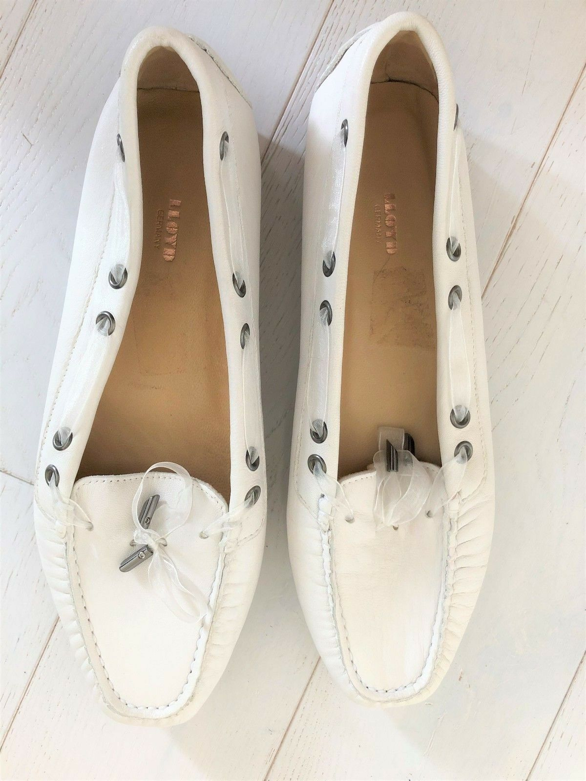 LLOYD GERMANY ladies blanc loafer moccasin deck chaussures chaussures UK 7.5 40.5