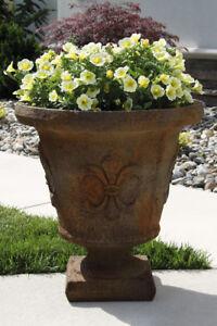 """28"""" Fleur De Lis Urn - Outdoor Concrete Garden Planter ..."""