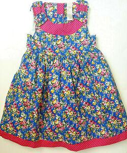 Schones Madchen Sommerkleid Neu Gr 92 Lang Mit Blumenprint Blau Mit Rosen Ebay