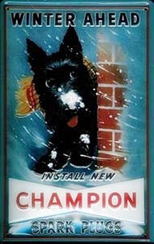 hi Champion Spark Plugs Winter embossed steel sign    300mm x 200mm