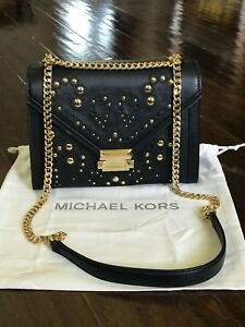 cbd32a004528 NWT Michael Kors Whitney MK Large Studded Shoulder Bag Admiral Gold ...