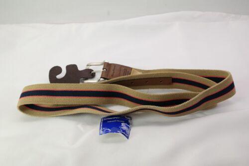 Tommy Bahama Men/'s Stretch Casual Belt Tan Beige Khaki Navy Stripe Size 44 T3