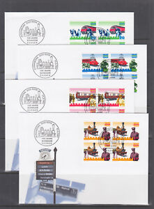 Switzerland-Mi-1601-1622-1997-issues-6-complete-sets-in-blocks-of-4-on-15-FDCs