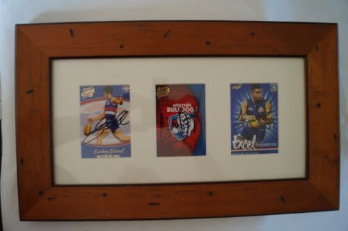 Western Bulldogs Framed 3 x Select Footy Cards signed Wood, Beveridge,Johannisen