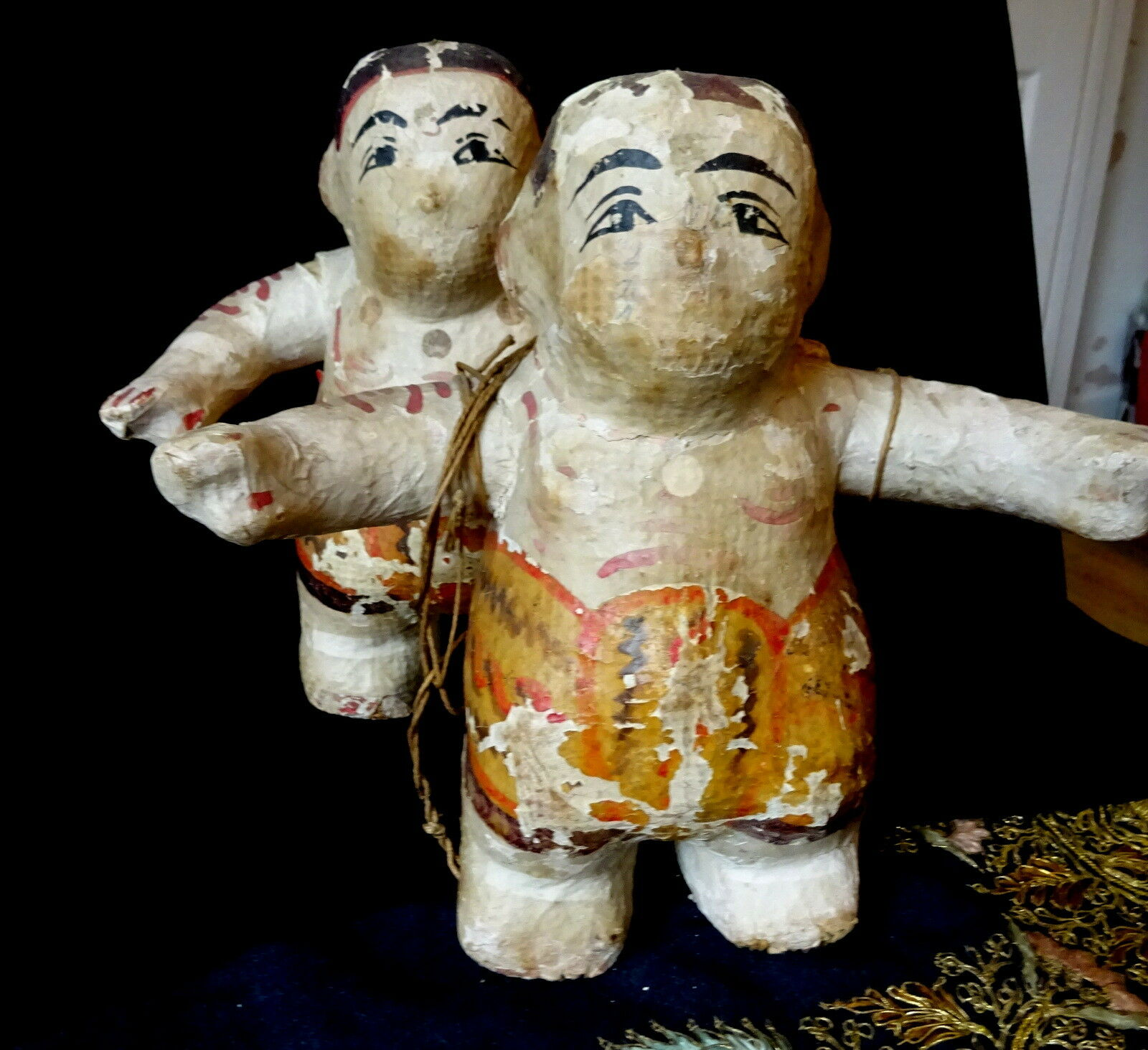 A Very Rare Pair of Antique Paper Papier Mache String Boy Puppets Burma