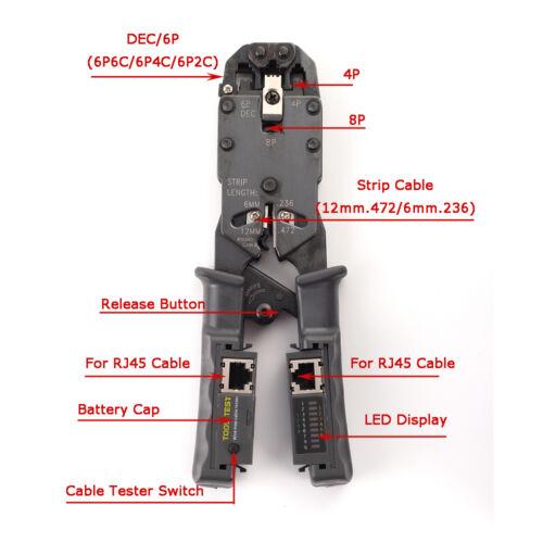 Network LAN Cable Crimper Stripper Cutter Pliers Tester RJ45//RJ11//RJ9 6P DEC 8P